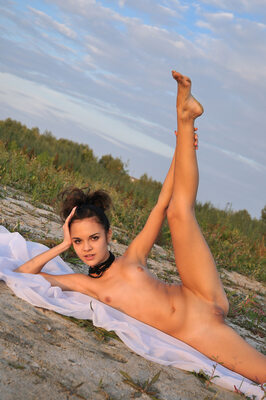 Imagen etiquetada con: Skinny, Brunette, MET Art, Ralina A, Ventus, Flat chested, Flexible, Nature, Small Tits