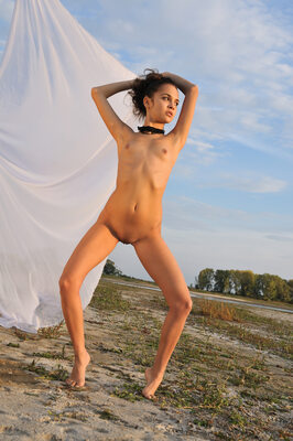 Imagen etiquetada con: Skinny, Brunette, MET Art, Ralina A, Ventus, Flat chested, Nature, Small Tits, Tummy