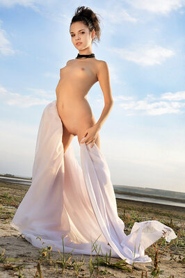 Imagen etiquetada con: Skinny, Brunette, MET Art, Ralina A, Ventus, Flat chested, Nature, Small Tits